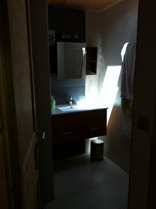 Salle de douche indépendante avec WC, lavabo et douche à l'italienne.