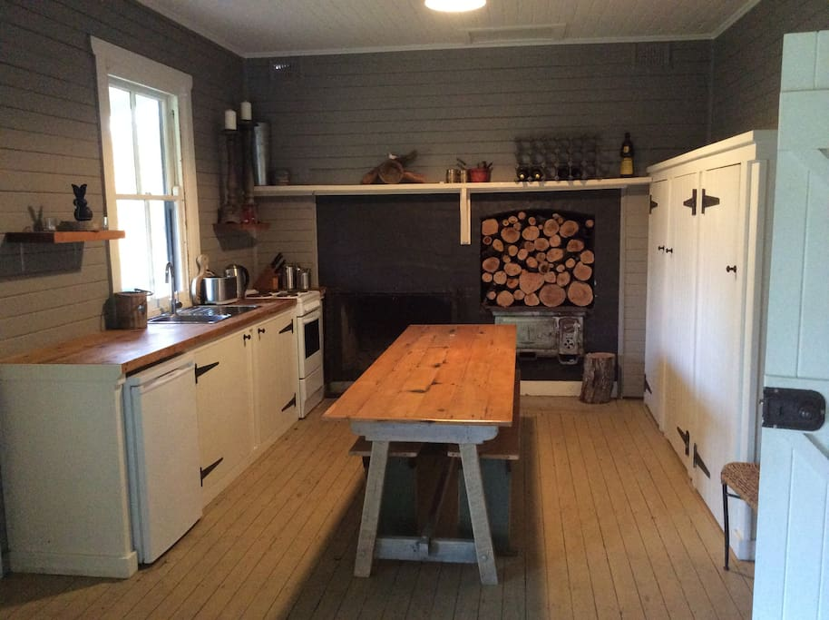 eat in kitchen with open fireplace