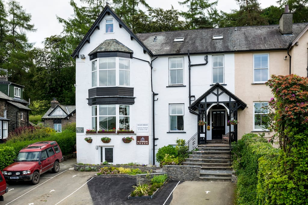 The frontage of our home, Blenheim Lodge Bed and Breakfast in the Lake District National Park, Bowness-on-Windermere.