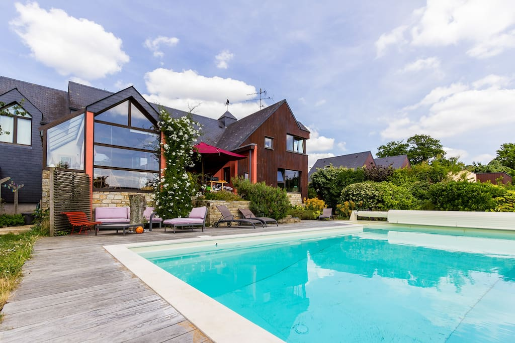 maison architecte piscine vue mer houses for rent in arradon brittany france