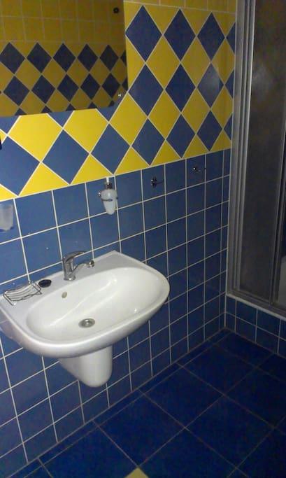 wash basin (sink) in shared bathroom.