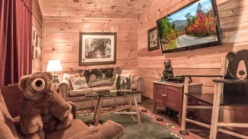Cuddle up in our adorable living room with huge flat screen tv with cable