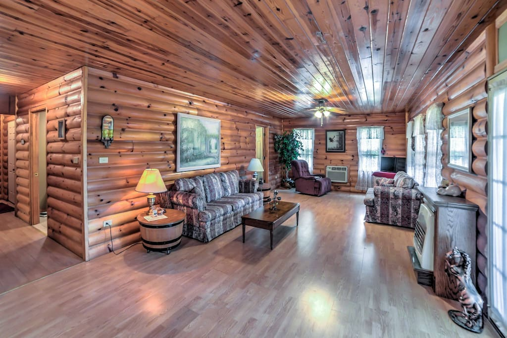 This quintessential log cabin is warm and inviting.