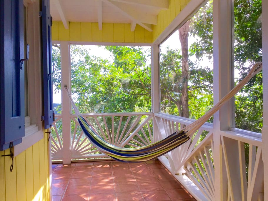 Relax in the hammock amongst the trees......