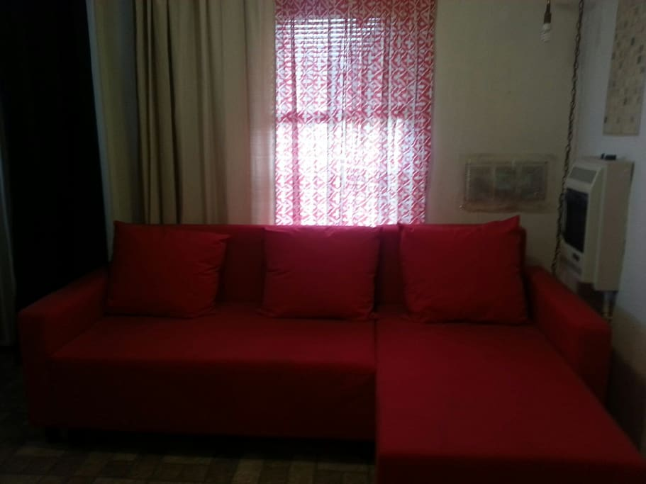 Living room with IKEA couch that makes into a full size bed/
