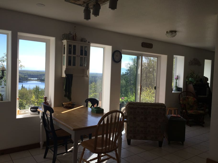 Dining area and comfy chair for reading and gazing across the Matanuska valley...