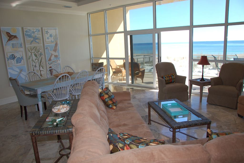 Main level living room with Gulf views