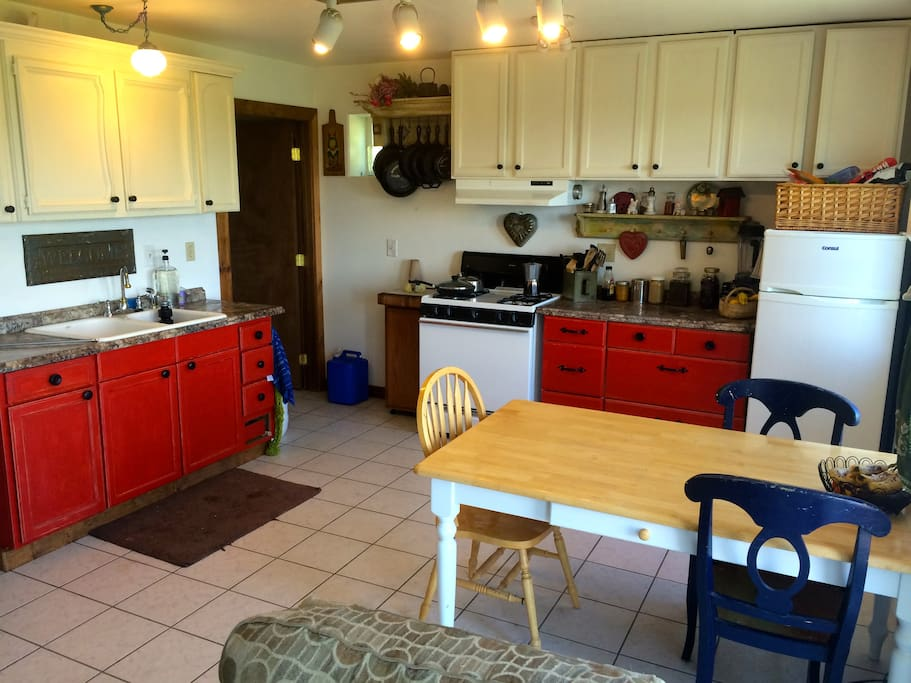 Fully functional kitchen and laundry room, with propane appliances...