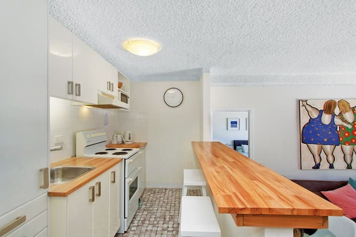 Fully equiped kitchen with new bench tops and appliances. (No dishwasher)
