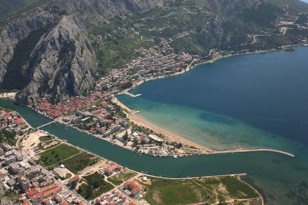 Aerial view of Omis, delta of river Cetina and the Adriatic Sea