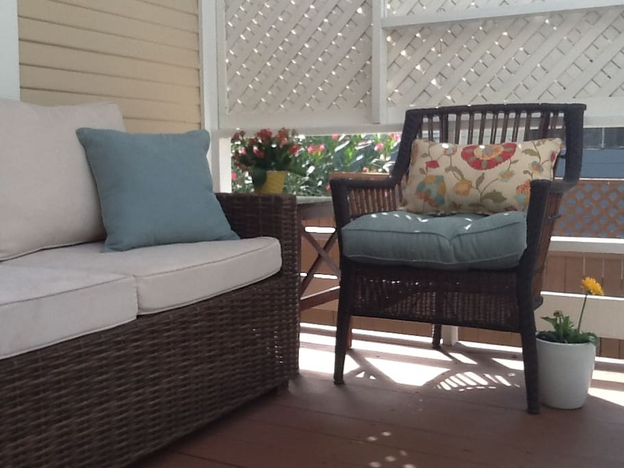 Enjoy the private and quiet shaded porch.