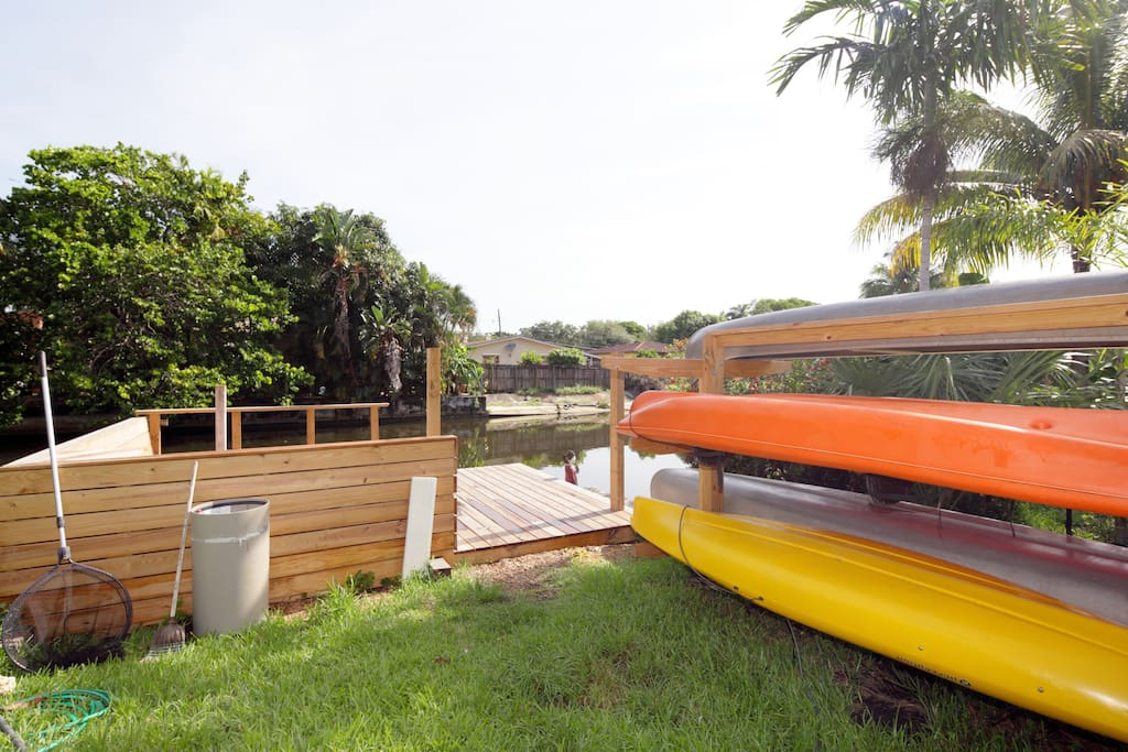 Kayaks and canoes are right outside your door
