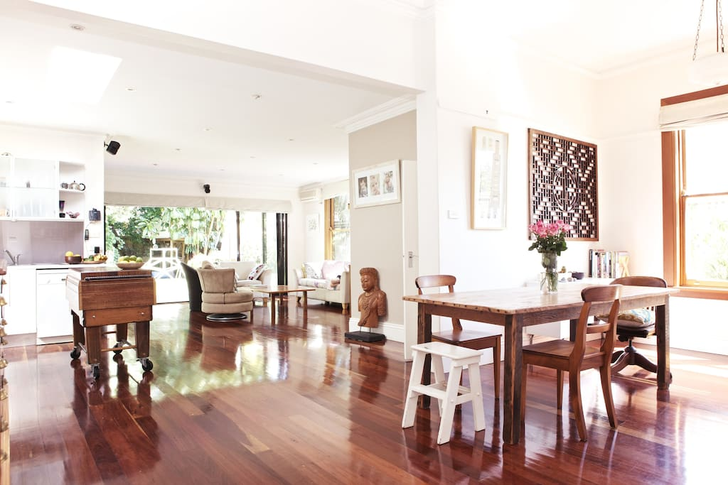 The 'big' room: living, kitchen and dining rooms