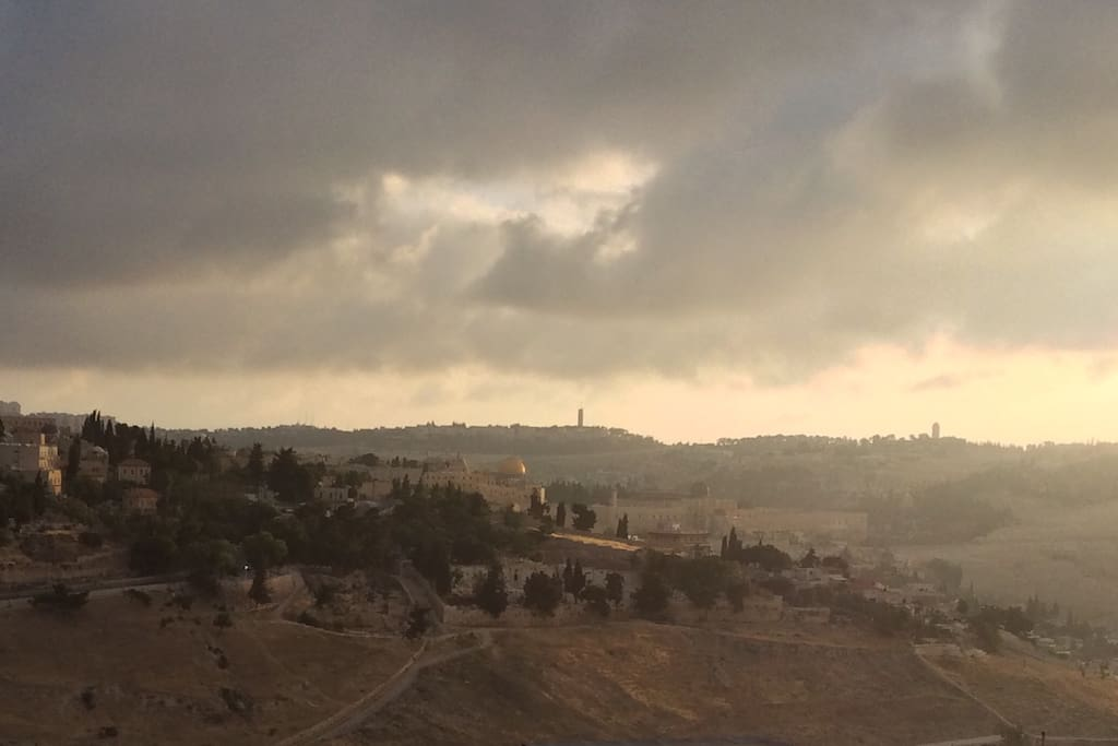 The view from our balcony - You can see the old city of Jerusalem