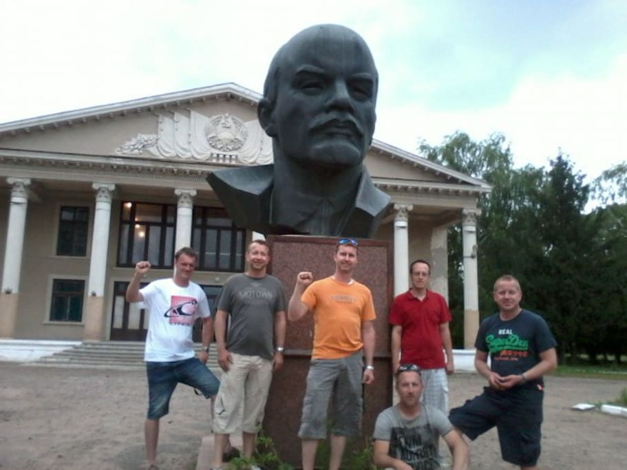 German Tourist Drink Beer at the Bust of Lenin on our Village Tour, with FREE Home made Wine! :D