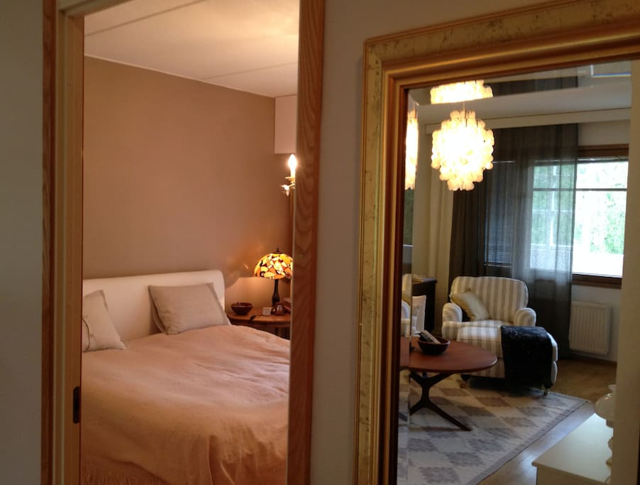 Bedroom and a mirror image of the living room