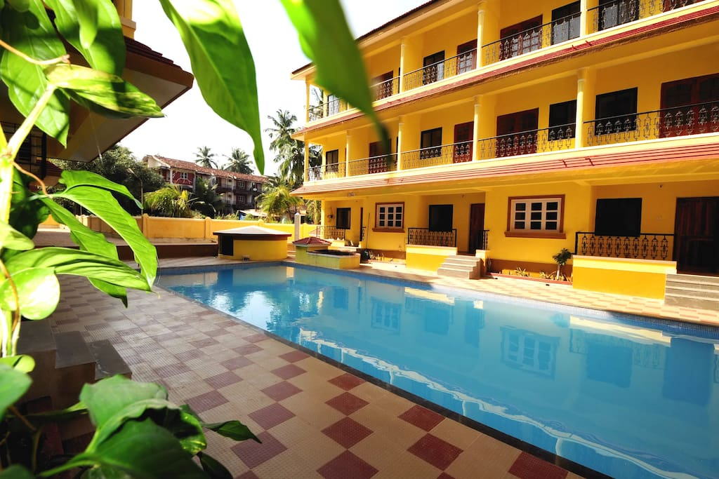 There is a large, hygienically maintained  swimming pool within the complex. Balconies are overlooking the pool