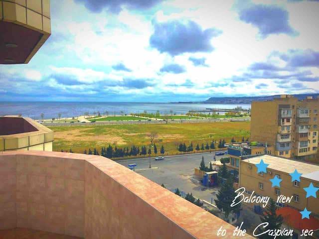 Balcony view to the Caspian Sea  Балкон с видом на Каспийское море