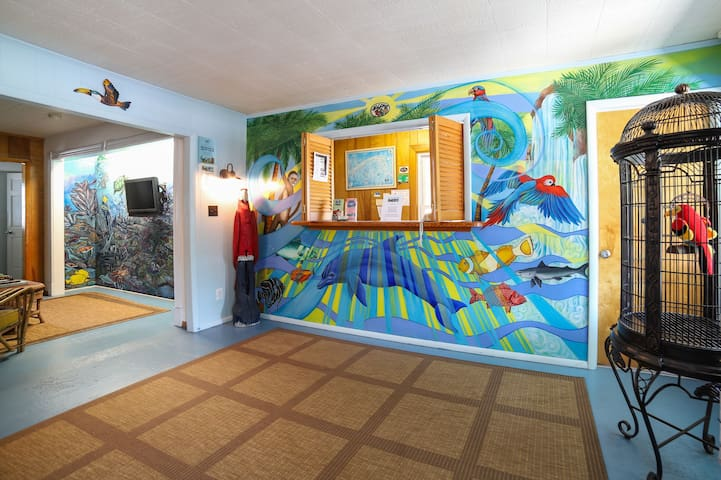 Lobby of Island Guest House - where you come to checkin and out!