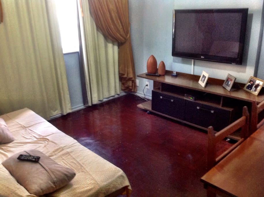 Living room with 42-inch TV with cable television , with table , ceiling fan and sofa bed!