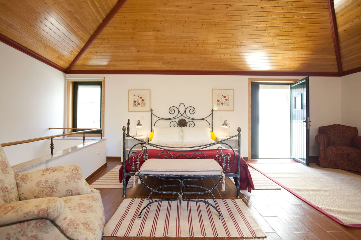 Cottage master bedroom  with direct access from  the terrace as well