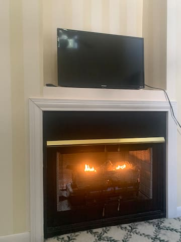 Bedroom with tunnel propane fireplace and Roku smart tv