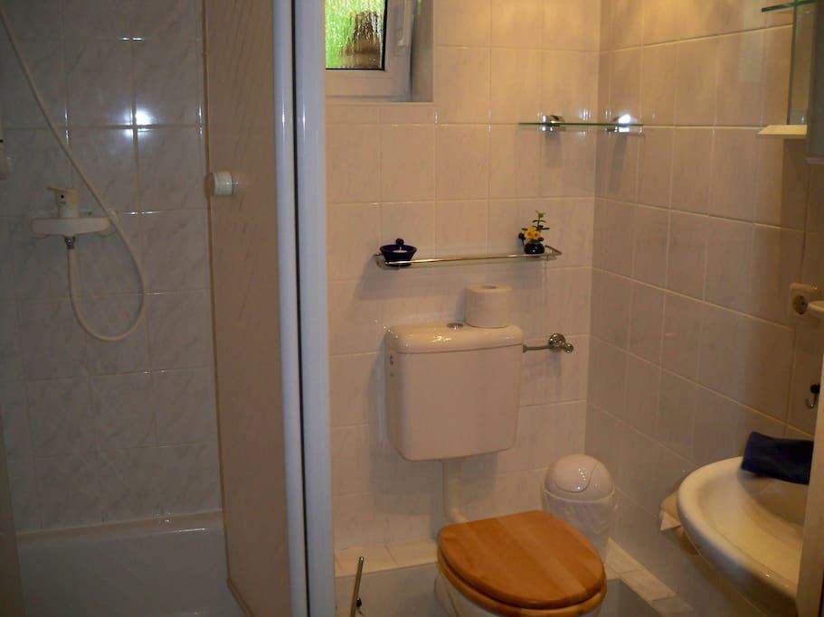 Tageslicht-Bad mit Dusche, WC, Fön und diversen Hygieneartikeln