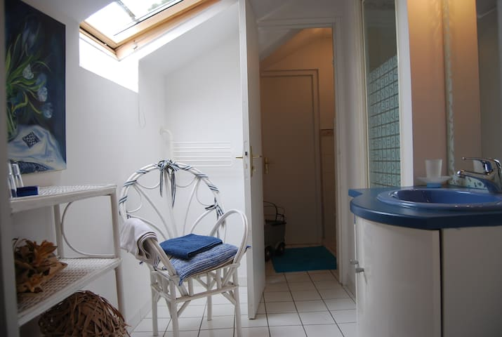 Salle d'eau équipée d'une douche et de toilettes séparés