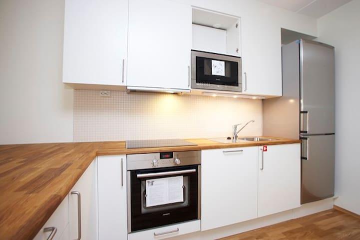 stort og modern kjøkken med alt som man trenger: mikrobølgen, stekeplater og ovnen,stort kjøleskap og fryseboksen, ....oppvaskmaskin, lagringsplass til matllagging...høyavansert teknologi