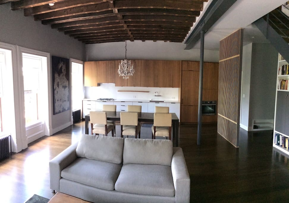 30 x 24 ft spacious living/dining/cooking area