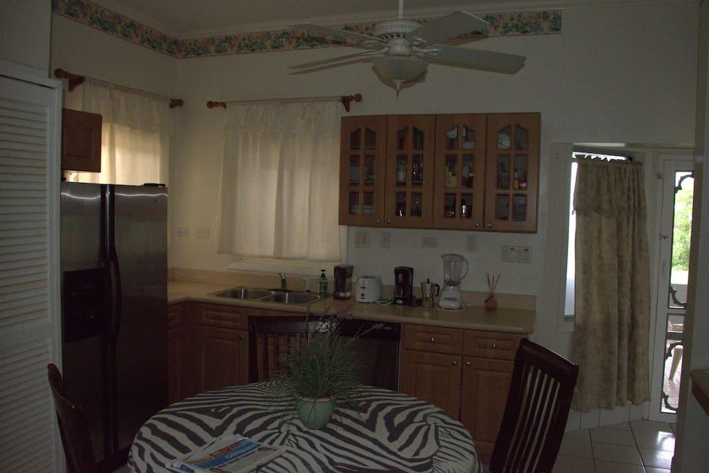The kitchen with fridge with icemaker, dishwashing machine, espresso coffee maker, blender, toaster