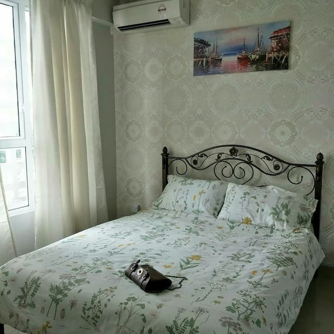 Master bedroom with double bed, aircond, closet and 3 power points