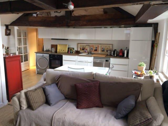 La cuisine - salle à manger vue du salon (je dors dans le canapé)