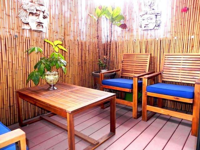 Ground level patio is a sweet private nook where you can relax in between your day's adventures.