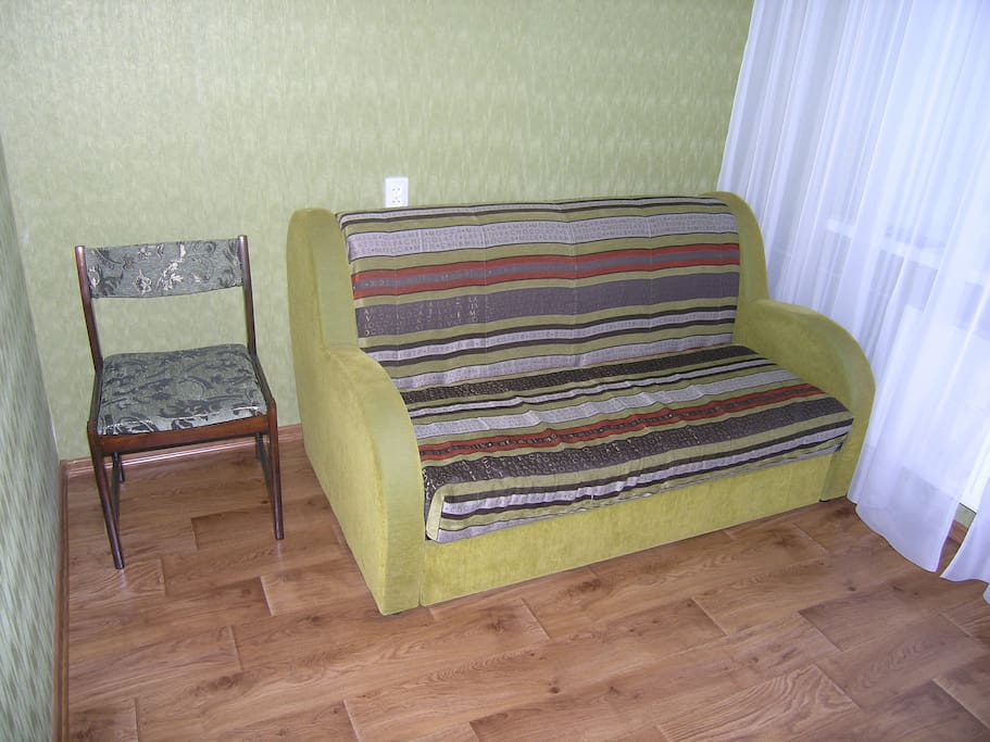 Fold-out couch.