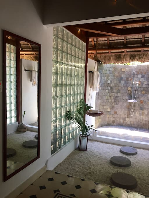 Tropical indoor/outdoor shower