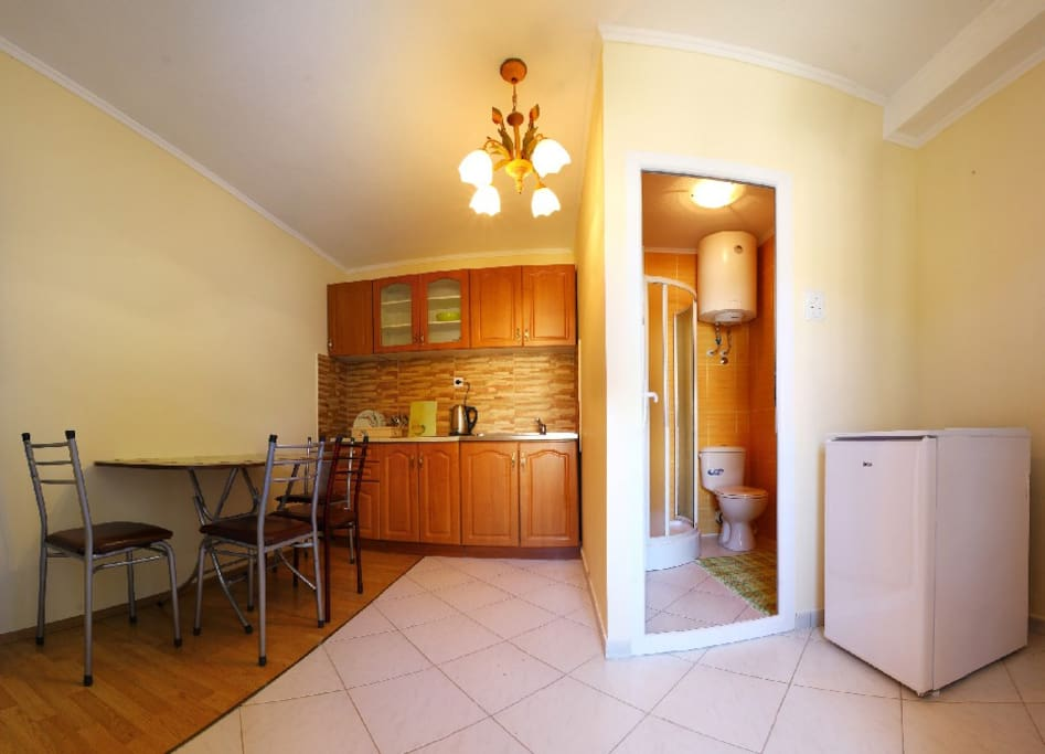 kitchen and WC