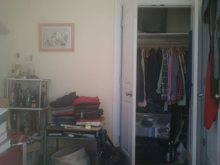 Closet in room and some storage units/space