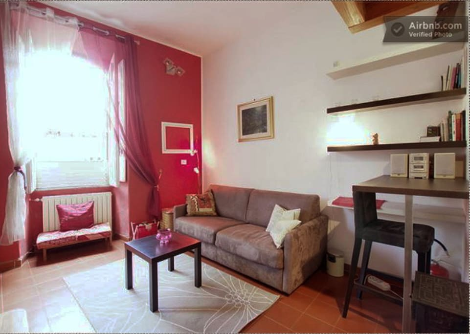 This is your home in Trastevere! Here is your living
