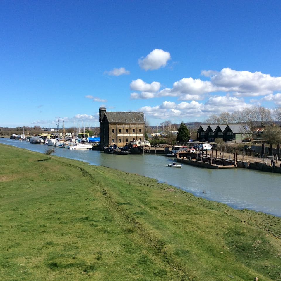 View of Faversham Creek and Saxon Shore footpath from House