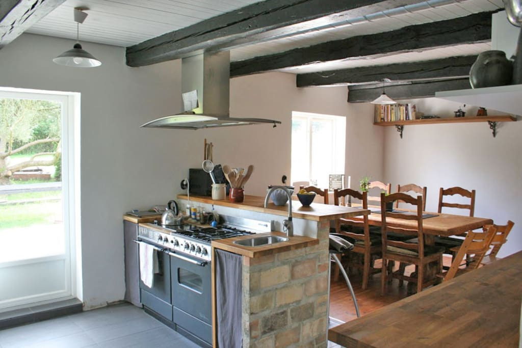 Kitchen with dining table for eight persons