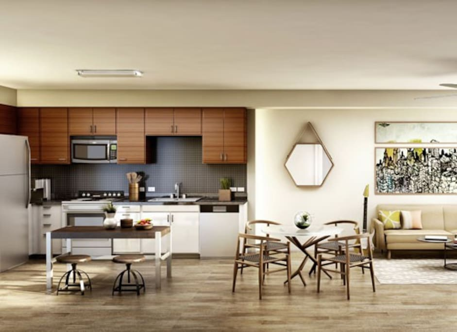 Fully equipped kitchen with comfortable seating are for four