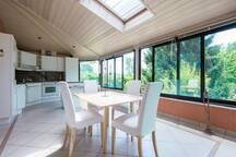 Huge sunny kitchen