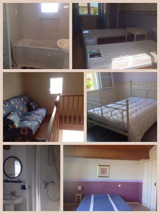 3 chambres, 1 mezzanine, 1 salle de bain, 1 salle d'eau.