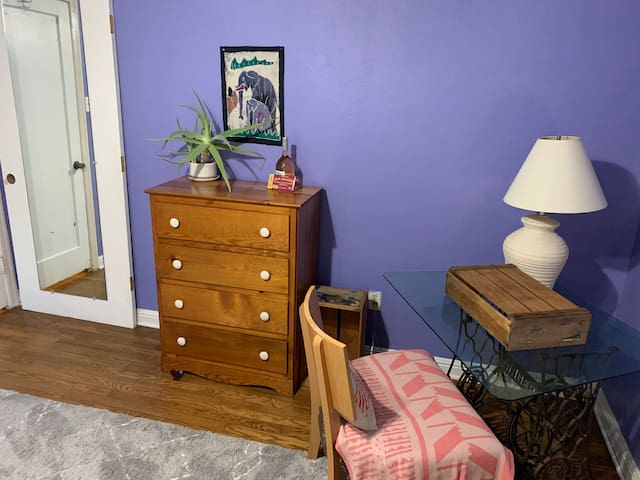 Desk and dresser available for your use in your bedroom