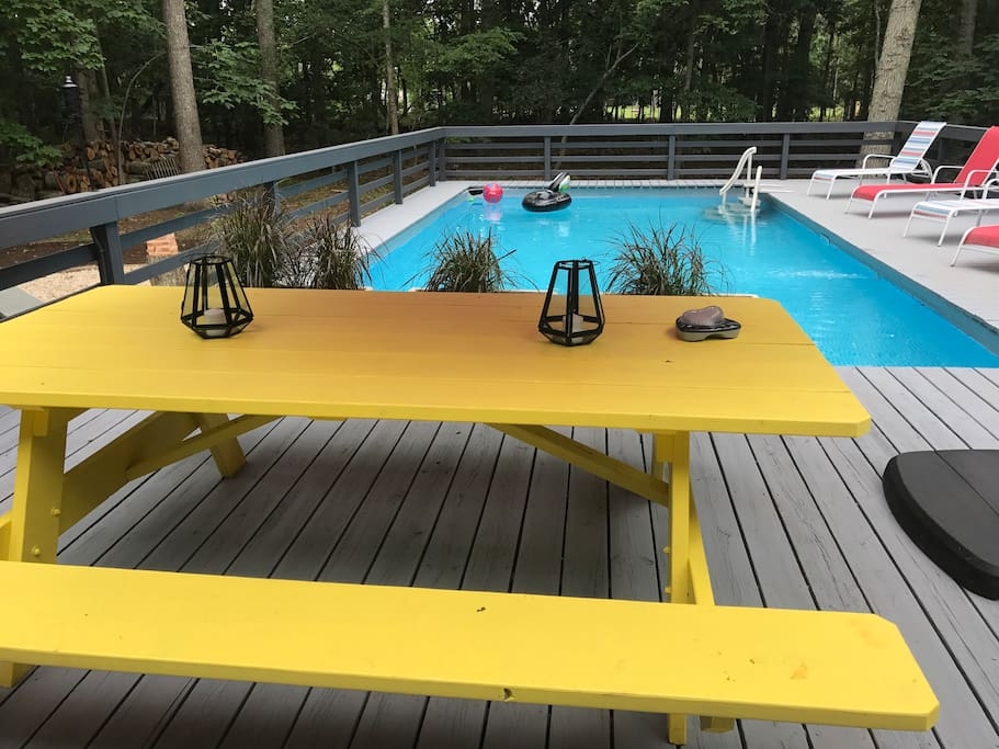This custom made picnic table seats 8