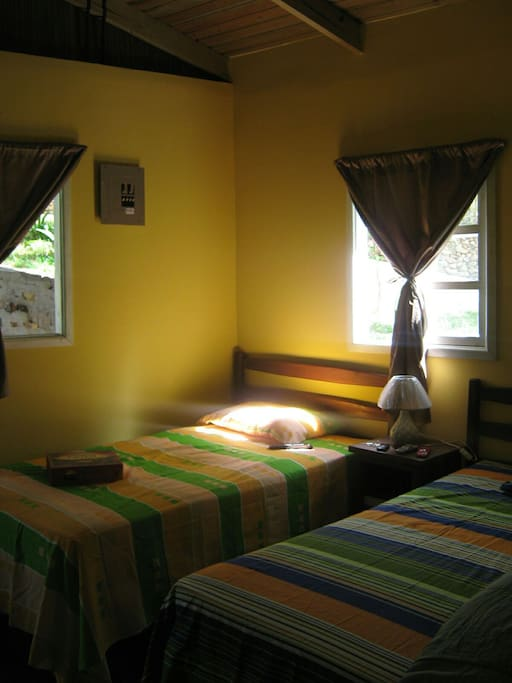 Bedroom in the cozy log cabin.