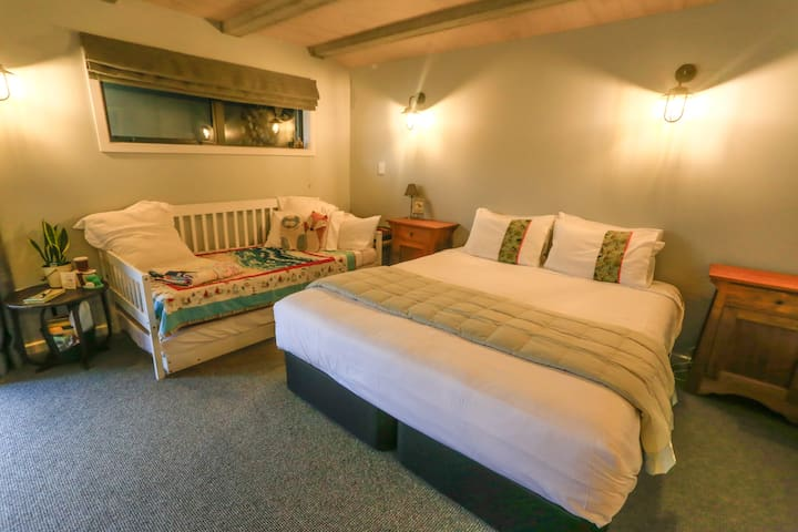 Many of our guests comment on how comfortable the king size bed is.  We think you deserve a lovely quality bed after a day skiing, rock climbing or conquering avalanche Peak!