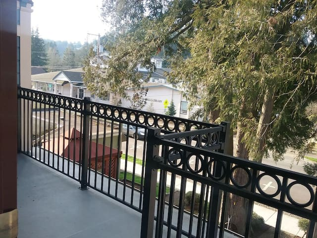 Photo taken from balcony, Silverfalls Library view