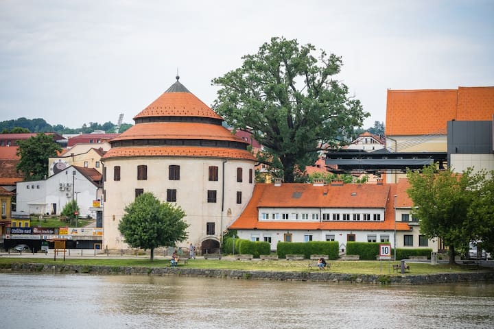 Charming Attic Double room on the Drava Riverfront